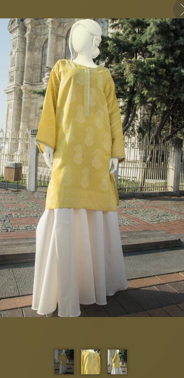 Junaid Jamshed Large Size 14 Yellow Cotton Kurta/