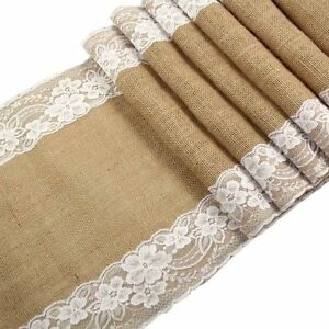 1-5-10-30cmx275cm-Hessian-Lace-Table-Runners-Burlap-Jute-Lace-Rustic-Wedding