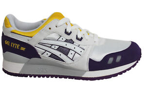 112cc0e64d49 Asics Gel-Lyte III White Purple Lace Up Mens Leather Trainers H305N ...