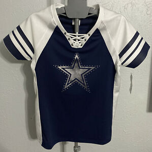 Details about DALLAS COWBOYS LARGE JERSEY SHIRT WOMENS NFL FOOTBALL LADIES CUTE RHINESTONE NEW