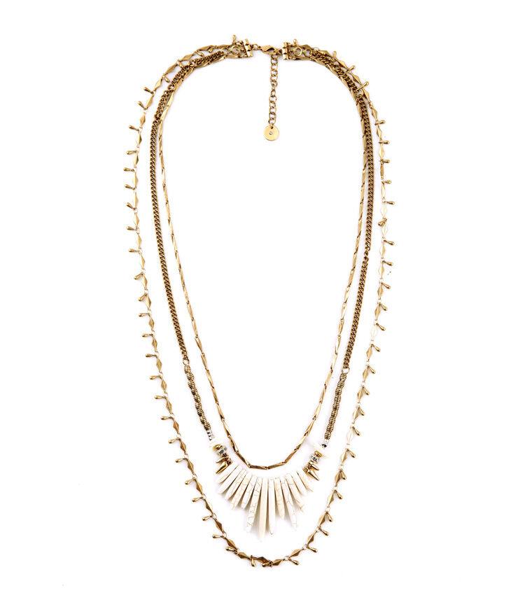 Collar Largo Dorado Multirango Flecos madre de la perla whiteo Fino 3 en 1