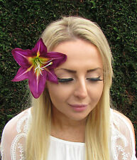 Purple Lily Flower Hair Clip Rockabilly 1950s Fascinator Headpiece Vintage 1818