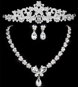 Diamante Crystal Rhinestone Pearl Leaf Necklace Pendant Earrings Jewelry Set UK