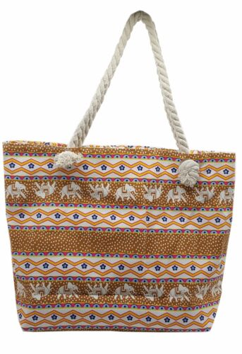 CANVAS PRINT ROPE HANDLES BEACH BAG SHOPPER STYLE TOTE HOLIDAYS TRAVEL LARGE