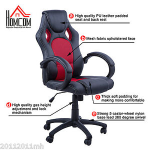 HOMCOM Rac Car Style Office Gaming Chair Hydraulic Computer Chair Black Red
