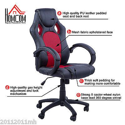 HOMCOM Rac Car Style Office Gaming Chair Hydraulic Computer Chair Black Red