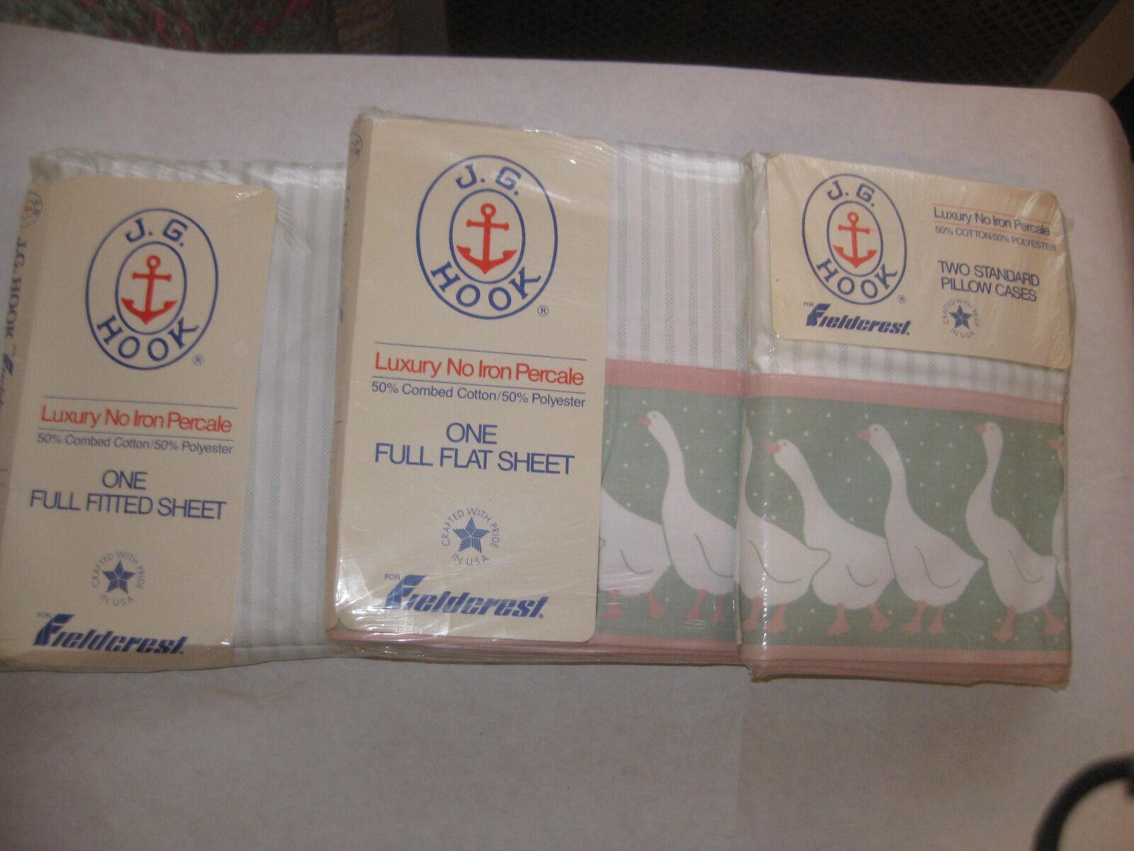 Vintage NOS Set Of Fieldcrest JG HOOK  Full Flat FItted Bed Sheets Pillow Cases