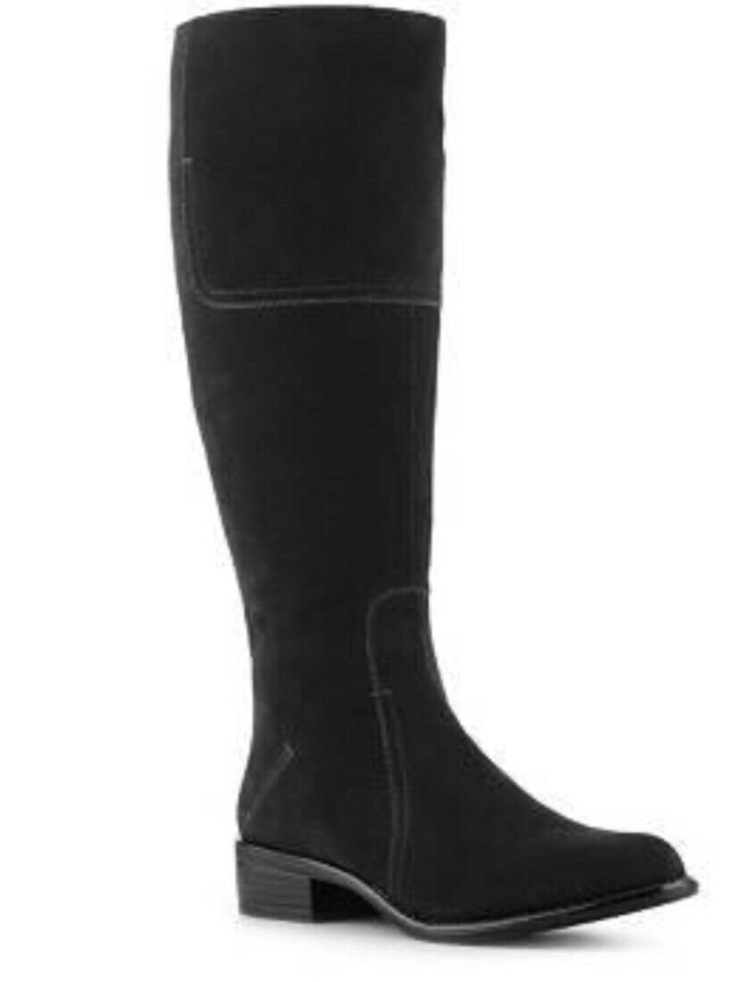 FRANCO SARTO  199 Sz. 8.5 Women's Cristo Black Suede Knee High Riding Boots RARE