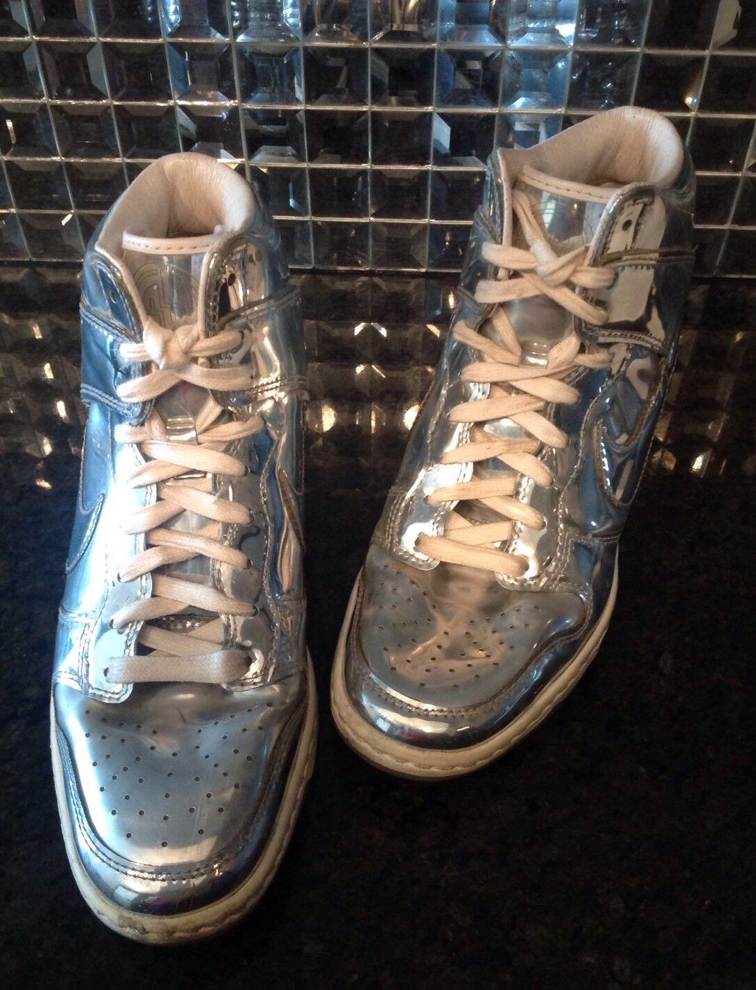huge selection of bc464 0dcde ... print mujeres lifestyle casual zapatos new dark mc verde 106 ae19f  1750b  low cost nike 7.5 liquid silver metallic dunk sky hi hi sky high  hidden wedge ...