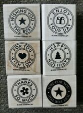 Stampin' Up Lot of 6 Rubber Stamps Love Christmas Thanks Best Wishes For You