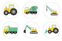 Construction Party Edible Cupcake Toppers Decoration - Tractor Truck Dirt