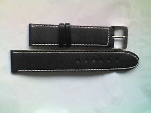 Gents-18mm-Black-Leather-Watch-Strap-Band-Silver-Coloured-Buckle-NEW