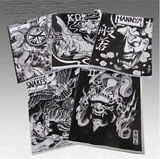 Set of 7 Japanese Tattoo Stencil books by Horimouja - Hannya Koi Skulls Dragons