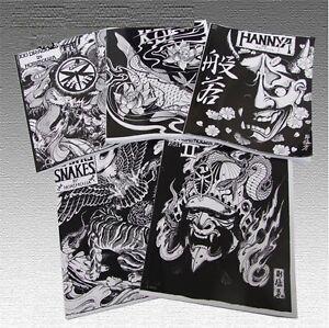 Set Of 7 Japanese Tattoo Stencil Books By Horimouja Hannya Koi
