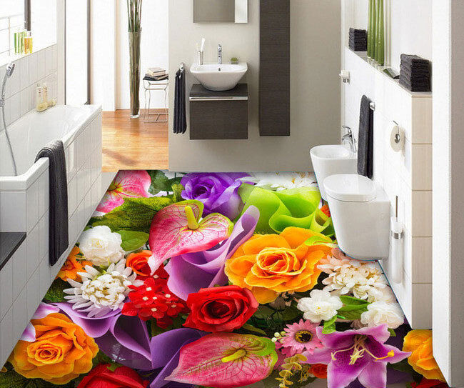 3D Rose Flowers Petal Floor Mural Photo Flooring Wallpaper Waterproof Home Decal