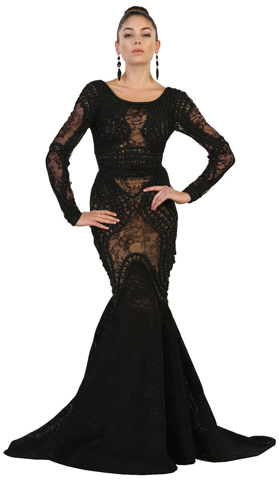 NEW FITTED RED CARPET PAGEANT PROM MERMAID DRESS LONG SLEEVE FORMAL EVENING GOWN