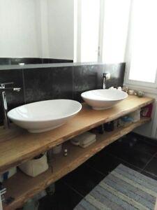 Mensole Per Bagno In Legno.Mensola Lavabo In Legno Massello Design Per Bagno Su Misura Ebay