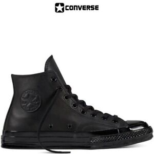 Scarpe-Converse-All-Star-Nere-Monochrome-in-Pelle-Classic-Black-Total-Black
