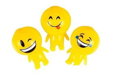 3 Count Squishy Sticky Gooey Splat Smiley Face Emoji Buddy Toys Set B