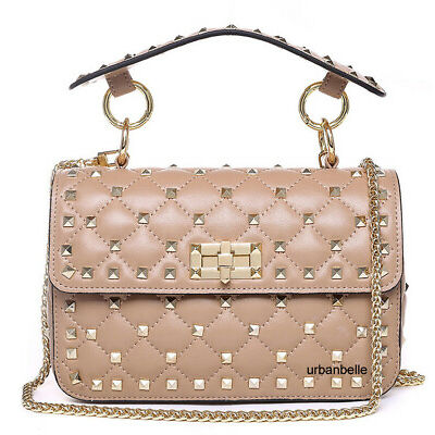 Women Genuine Leather Studded Spike Bag Lambskin Quilted Chain Shoulder Purse