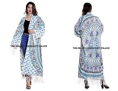 UK Womens Mandala Loose Kimono Cardigan Boho Beach Cotton Tops Long Coat Blouse