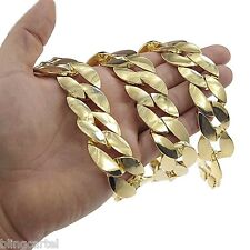 """Thick 25MM Cuban Link 24"""" Inch Gold Finish Huge Big Hip Hop Chain Men's Necklace"""