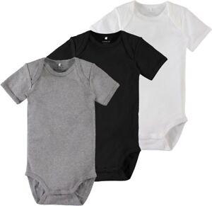 NAME-IT-3er-kurzarm-Body-Set-schwarz-grau-weiss-Groesse-50-bis-98