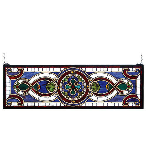 35″W X 11″H Evelyn in Lapis Stained Glass Window 77907