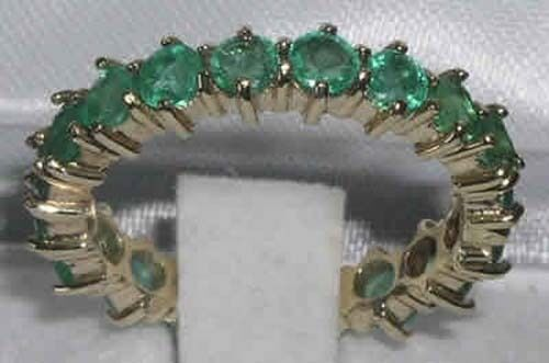 9K Yellow gold Ladies Emerald Full Eternity Ring