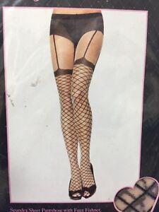 7cd51951c 110039)New Leg Avenue Sheer pantyHose Faux Fishnet Garter Belt lace ...