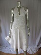 DKNY S 100% Cotton White 1 Layer Draped Torso A-Shaped Boardwalk Beach  Dress