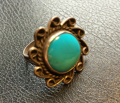 Vintage Old Pawn Navajo Large Turquoise Sterling Silver Ring Size 6.5 Unsigned