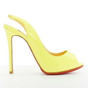 reputable site 43cd8 35410 Details about CHRISTIAN LOUBOUTIN canary yellow patent peep toe slingback  heel pump EU37.5