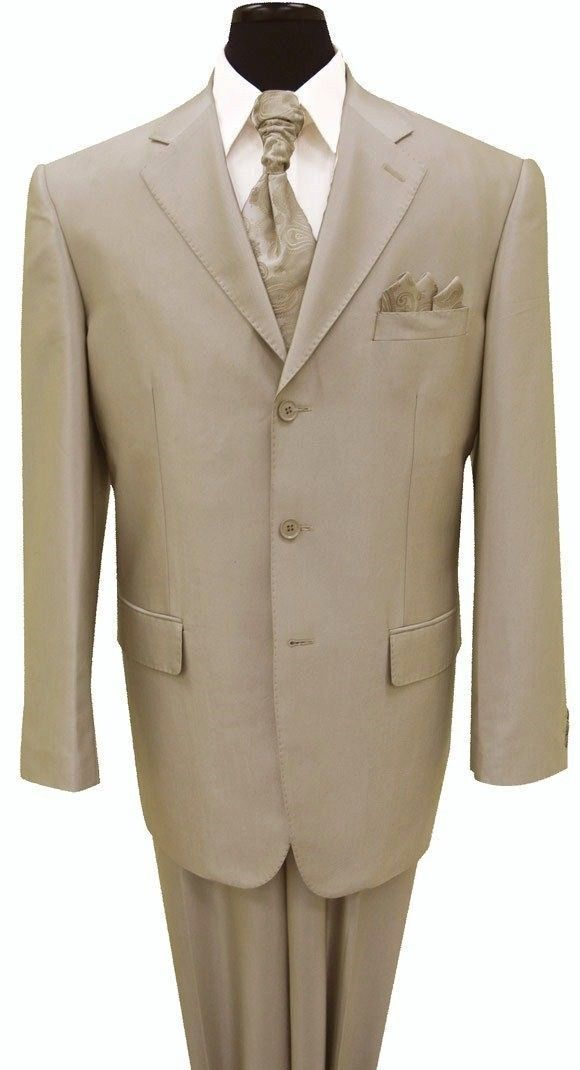 Men's Three Button Solid Tan Wool Feel Sharkskin Look Suit 58025