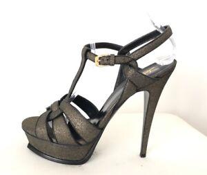 d043c9d4b8b Details about Saint Laurent YSL Tribute Black Gold Shimmer Platform Sandals  Heels Shoes, 40.5