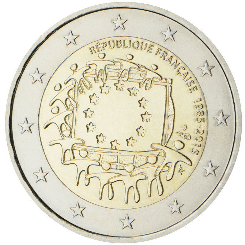 NEW ISSUE BIMETAL 2 EURO UNC COIN 2015 YEAR 30th ANNI EU FLAG ITALY