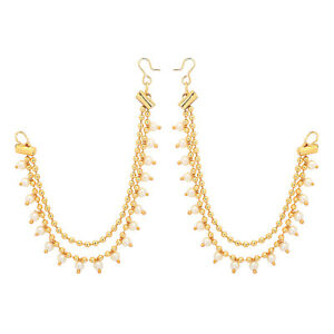 Image Is Loading Jwellmart Indian Bollywood Gold Plated Faux Pearl Earrings