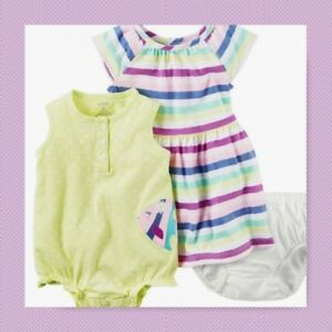 c59840393 New Carter s Baby Girl 3-Piece Dress Sunsuit and Bloomers Set ...