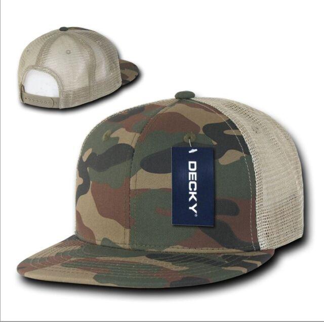 5a6546fe98010 Decky Cotton Flat Bill Trucker Cap Camouflage Woodland Tan Khaki ...