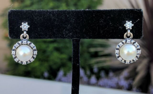1e2b84965 Authentic PANDORA Everlasting Grace Earrings w/ White Pearl & CZ 290562P