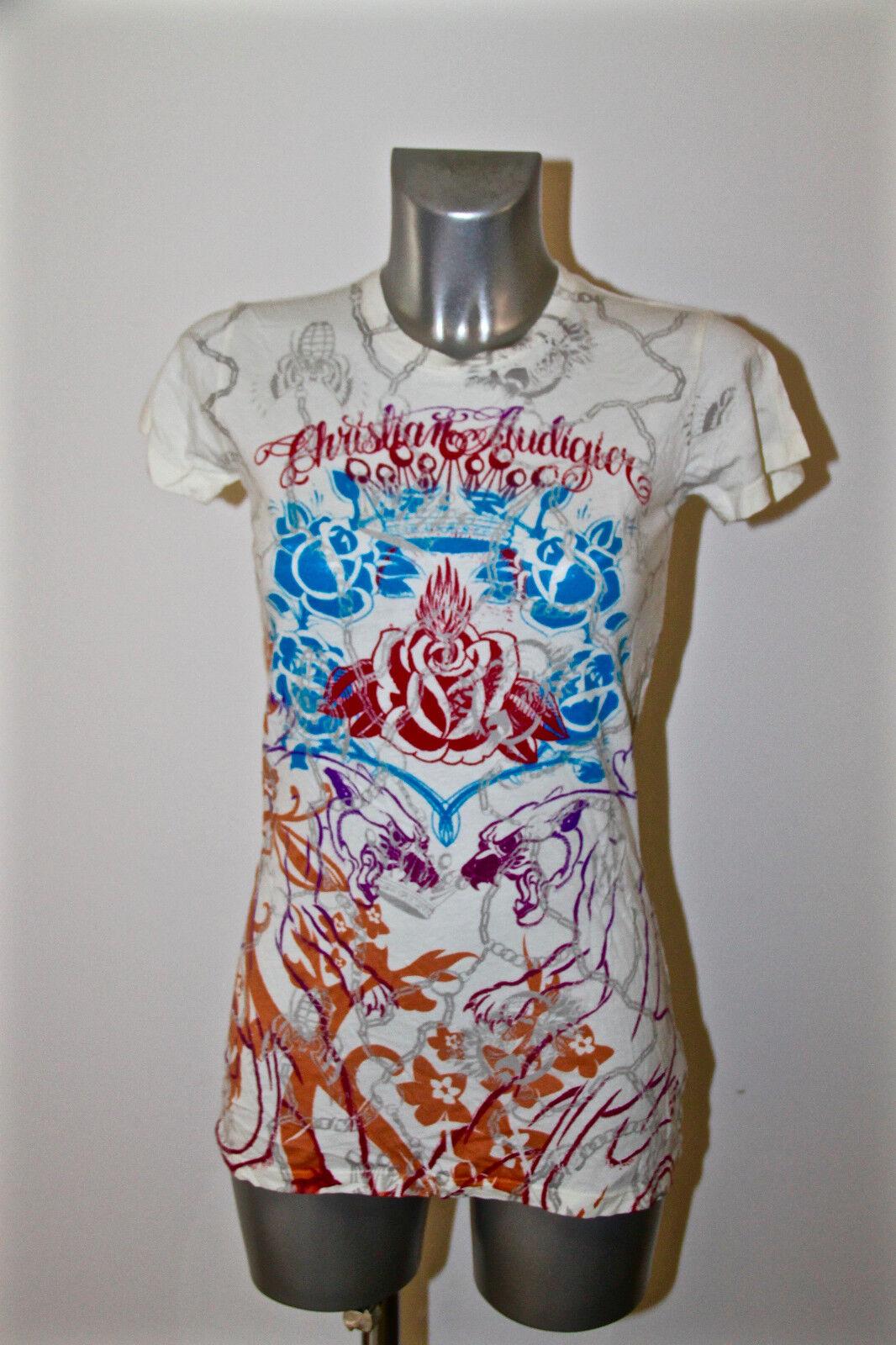 T-Shirt Gedruckt Frau Ed Hardy Audigier GRÖSSE S NEU Wert