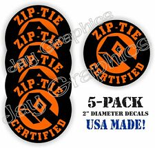 5 Orange Funny Zip Tie Certified Hard Hat Stickers Welding Helmet Vinyl Decals