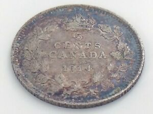 1914-Canada-Five-5-Cent-Small-Silver-Circulated-Canadian-George-V-Coin-J599