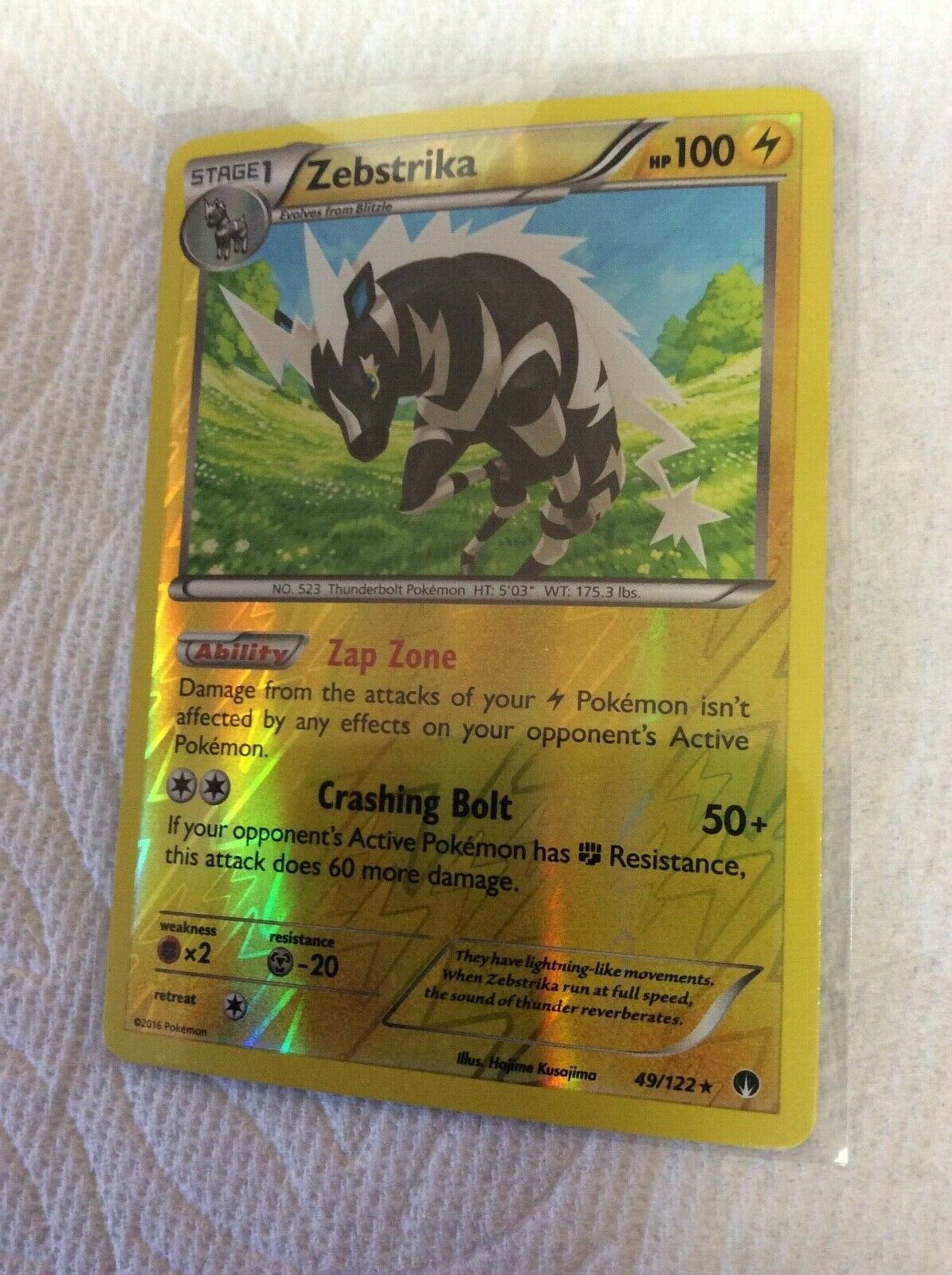 Pokemon TCG Zebstrika #49//122 Rare Mint English Electric Type New BREAKpoint