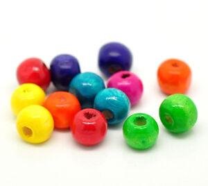 1000-Stk-Holzkugeln-Holzperlen-Perlen-bunt-rund-6-x-8-mm-Schmuck-Basteln-Loch