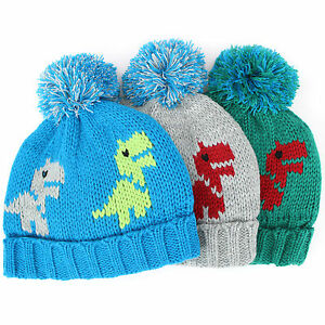 Image is loading Bobble-beanie-hat-chunky-knit-Jiglz-childrens-dinosaur- ea9a603e283