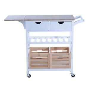 HOMCOM-Carrello-da-Cucina-Multifunzionale-con-2-Ceste-e-Portabottiglie-in-Legno