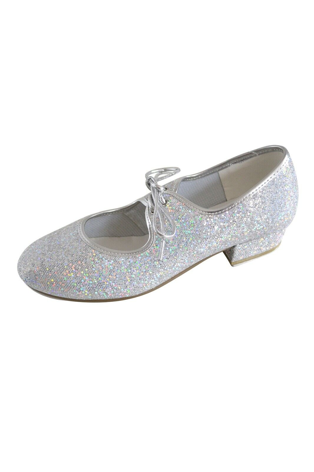 Roch Valley Low Heel Silver Hologram Tap shoes in child sizes