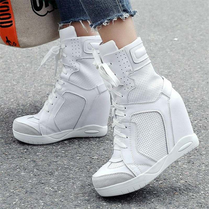 donna Genuine Leather High Top Fashion scarpe da ginnastica Platform Wedge Ankle stivali Sport