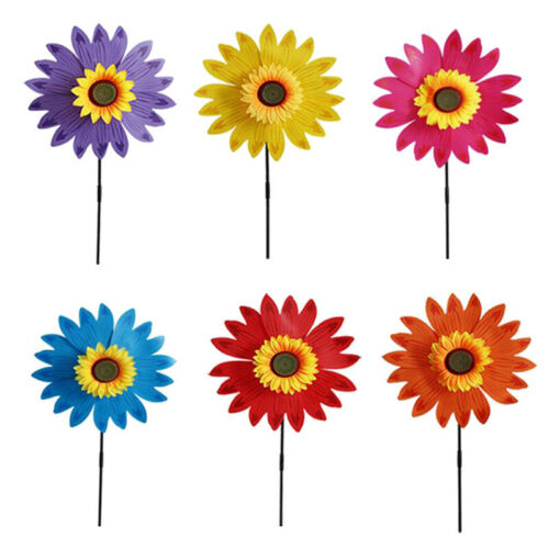 Double Layer Sunflower Windmill Wind Spinner Kids Toys Yard Garden~*